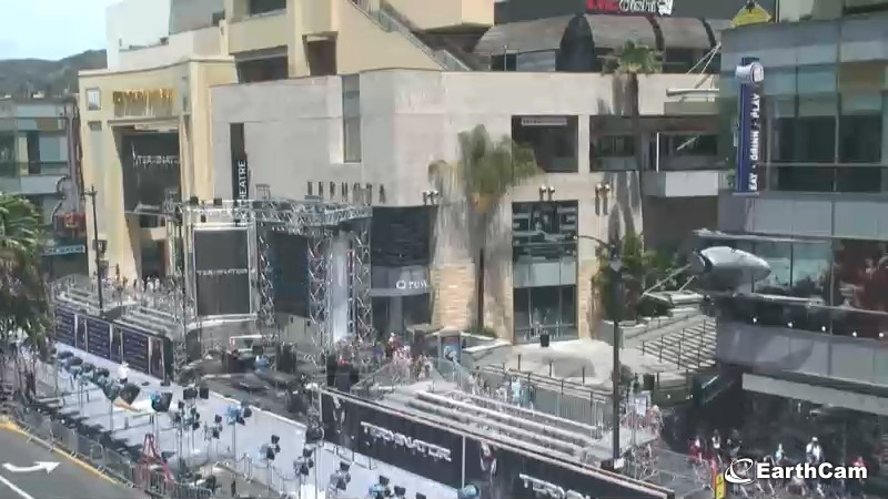 Hollywood Blvd. Getting ready for Terminator launch.